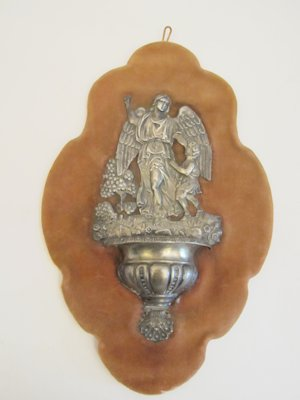 19th Century silver holy water font